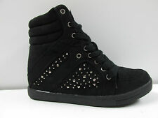 NEW WOMENS LADIES ANKLE LACE UP DIAMANTE HI-TOP WEDGE SHOES BOOTS TRAINERS SIZE