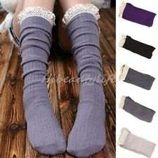 Crochet Lace Trim Cotton Knit Footed Leg Women Boot Socks Knee High Stockings