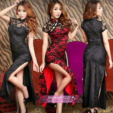 Sexy Retro Lingerie Lace Granny Chic Chinese Cheongsam Skirt long length dress