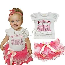 2PC Baby Xmas Outfit Birthday Girl Top T-shirt Tutu Petti skirt Dress Party Gift