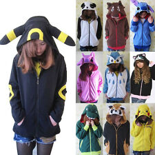 Pokemon Cosplay Anime Costume Ears Face Tail Zip Hooded Sweatshirt Hoodie Jacket