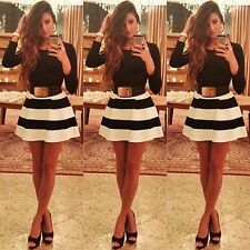 2014 Fashion Long Sleeve Striped Cute Gown mini casual Dress Women Party Dresses