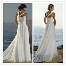 White Ivory Long Chiffon Wedding Dress Beach Bridal Gowns Ball SZ 6 8 10 12 14++