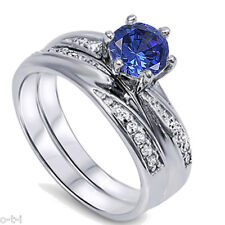 Infinity Celtic Blue Sapphire Round Engagement Wedding Sterling Silver Ring Set