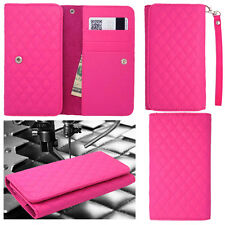 QUILTED Pink Leather Wallet Universal Pouch Cover Case For ZTE Phones