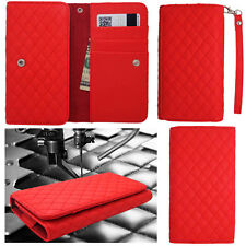 QUILTED Red Leather Wallet Universal Pouch Cover Case For Samsung Phones