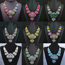 Fashion Design Crystal Chain Rhinestone Flower Bib Statement Necklace Jewelry Z