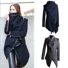 Women Winter Warm Trench Scarf Collar Slim Fit Coat Woolen Parka Overcoat Jacket