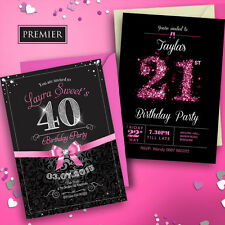 Personalised Birthday Invitations • Party Invites 18th 21st 30th 40th 50th 60th