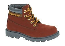 Caterpillar Childrens Red Colorado Kids Rubber Sole Flat Heel Lace Up Boots