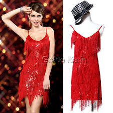 CHEAP Flapper Vtg-y 20s Tiered Fringe Sequin Dance Evening Party Slip XMAS Dress