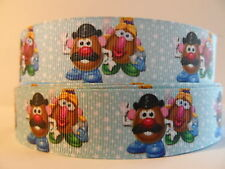 "Grosgrain Ribbon, Children's Toys, Mr. & Mrs. Potato Head on Light Blue, 1"" Wide"