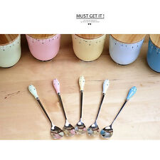 New 1pcs Spoons Long Handle Stainless Steel + Ceramic Tea Coffee Ice Cream A