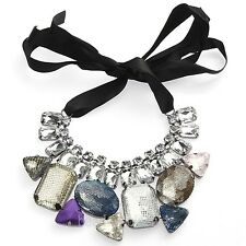 Womens Clear Fashion Cube Rhinestone Beads Black Ribbon Bib Collar Necklace