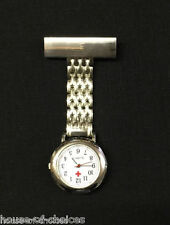 New Stainless Steel Silver Nurses Brooch Tunic Fob Watch New With FREE BATTERY