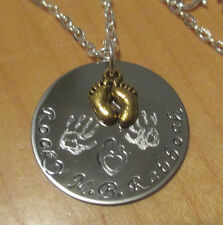 Bronze Baby Feet on Hand Stamped Medallion Disc Necklace Personalized Jewelry