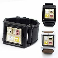 Leather Multi-Touch Wrist Strap Watch Band Cover For iPod Nano 6th 6 Generation