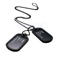 Military Army Style Black 2 Dog Tags Silver ball Chain Mens Pendant Necklace New