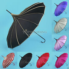 8 Colors Pagoda Umbrella Windproof Waterproof Wedding Bridal Vintage Sun Parasol