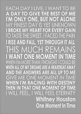 Whitney Houston- One Moment In Time - Word Wall Art Typography Song Lyrics Lyric