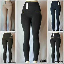 Fashion Fleece Zipper Knitted Leggings One Size Skinny Brushed Warm Winter Pants