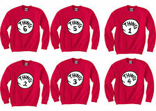 THING 1 2 3 4 5 6 Crewneck Sweater Costume Dr Seuss Fan Xmas party sweatshirts