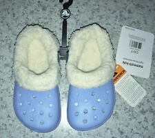 NEW Toddler Sz 6 / 7 CROCS Mammoth Kids Lined Clogs Light Blue Oatmeal Shoes