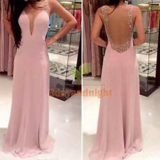 2014 Women V Neck Backless Prom Cocktail Evening Party Formal Dress Ball Gown