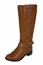 Hiro! By Soda Knee High Side and Ankle Buckle Riding Boot in Cognac Leatherette