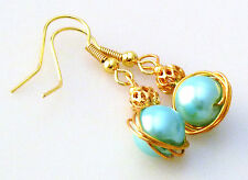 Glass Pearl Earrings Choice Of Colour Gold Plated Filigree Bead Dangle Handmade