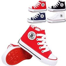 New Kids Boys Girls Plimsolls High Zipper Sneakers Flats Canvas Sport Shoes TX47