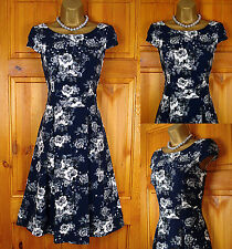NEW DOROTHY PERKINS NAVY BLUE WHITE GREY VINTAGE STYLE FLORAL TEA PARTY DRESS