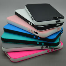 DUAL COLOR RUBBER SOFT SILICONE GEL BUMPER TPU CASE COVER FOR IPHONE 6 5 5S 5C 4
