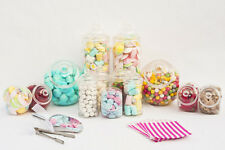 Large & Small Plastic Sweet Jars Scoops Tongs Bags Candy Buffet Wedding Loot