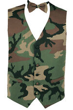Army and Hunters Camouflage Tuxedo Vest and Bow Tie