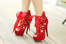 Womens Ladies Sexy PeepToe Red Lace-Up Stilettos Evening High Heel Shoes Pumps