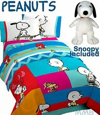 PEANUTS CHARLIE BROWN Patchwork Reversible Twin/Full Comforter Set+SNOOPY BUDDY