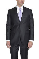 Imani Uomo Mens Stretch Fabric Slim Fit Black Pinstriped Two Button Suit