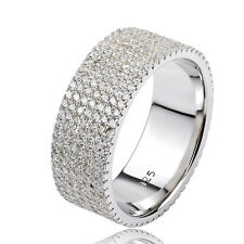 High Quality Women 925 Sterling Silver Micro CZ Cubic Pave Ring Band Circle