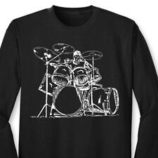 DRUMMER Drums Cool Musician T-shirt Band Party Music Long Sleeve Tee