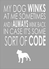 My Dog Winks At Me Sometimes - Staffy - Word Wall Art Typography Quote Dog