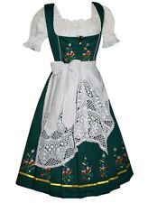 3-Piece LONG GREEN DIRNDL Trachten German Wear Bavarian Oktoberfest Party Dress