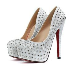 New Women Ladies High Heel Silver Glitter Studded Platform Stiletto, Pumps.