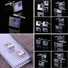 Mens Stainless Steel Wedding Silver Tone Square Rectangle Crystal Cufflinks