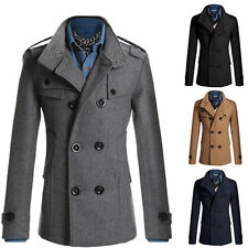 2015 Men Collared Trench Coats Macs Winter Warm Long Double Breasted Wool Jacket