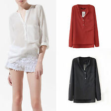 New Womens Casual Career Sheer Candy Color Blouse V Neck Long Sleeve Top Shirts