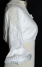 WHITE LACE German Waitress Jumper Oktoberfest SHORT Dirndl Dress Shirt CROP TOP