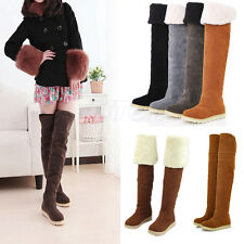 Fashion Women's Girl Over Knee Flat Heel Warm Winter Long Faux Wool Boots Shoes