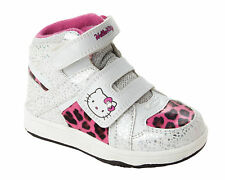 GIRLS HELLO KITTY WHITE PINK VELCRO HI TOP TRAINERS SHOES BOOTS UK SIZE 8-2