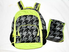 NWT GYMBOREE Black/Neon Green Boys Backpack/Lunchbox